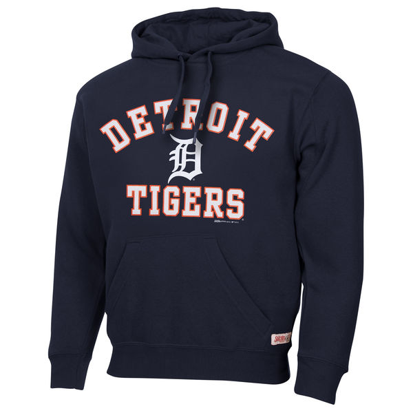 Men Detroit Tigers Stitches Fastball Fleece Pullover Hoodie Navy Blue
