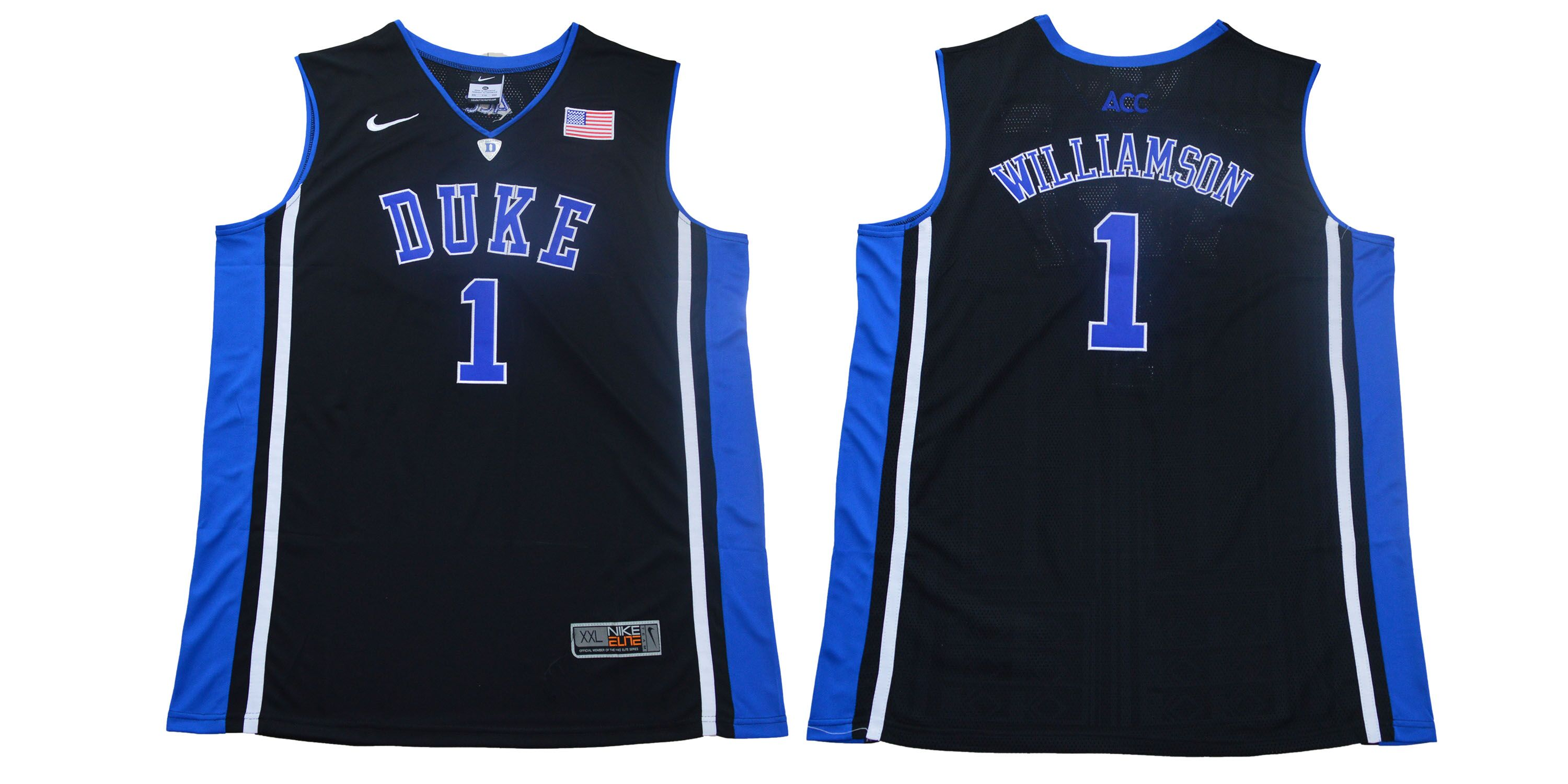 Men Duke Blue Devils 1 Zion Williamson Black Basketball Elite Stitched NCAA Jersey