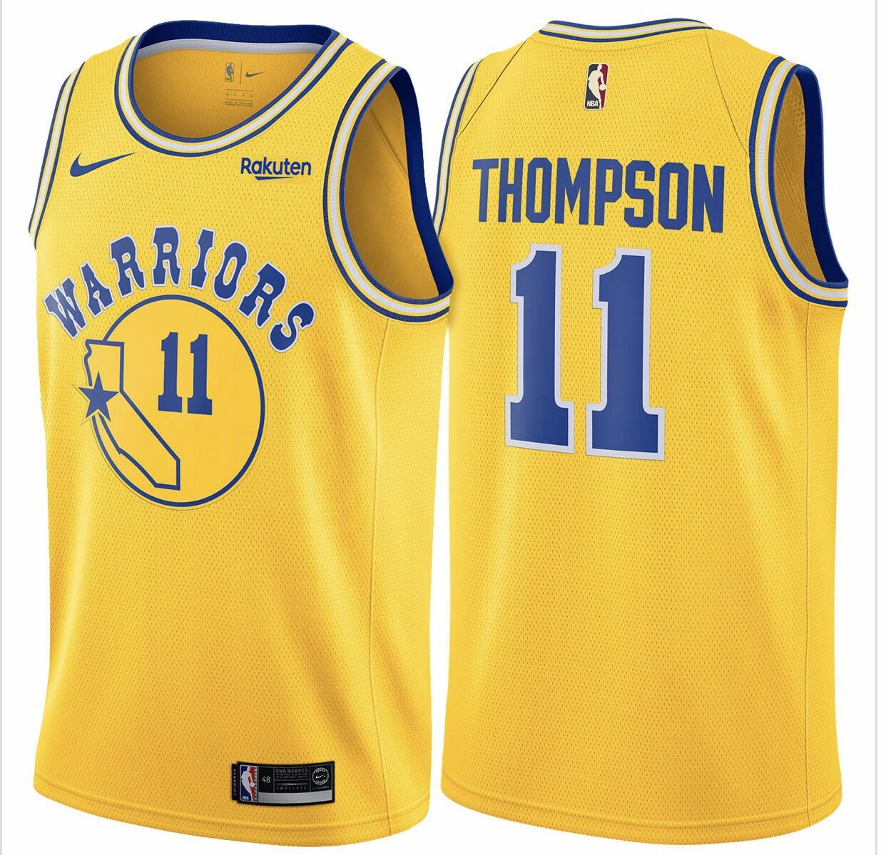 Men Golden State Warriors 11 Thompson Yellow Nike Game NBA Jerseys