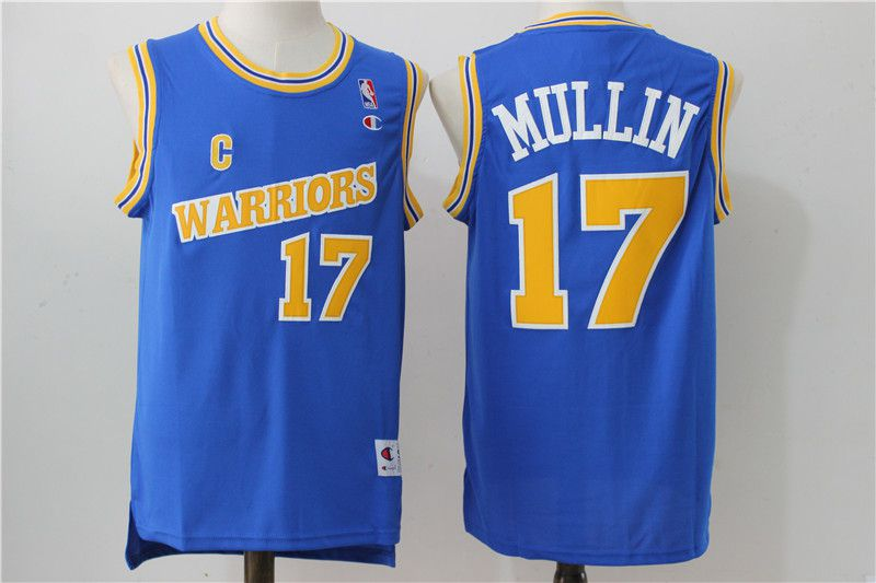 Men Golden State Warriors 17 Mullin Blue Throwback NBA Jerseys