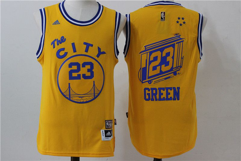 Men Golden State Warriors 23 Draymond Green Yellow City NBA Jerseys
