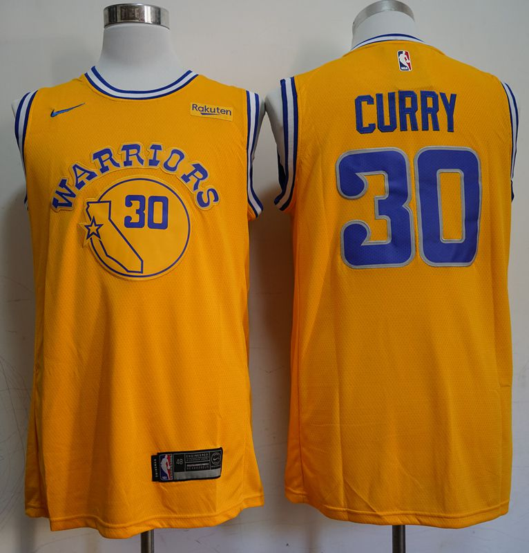 Men Golden State Warriors 30 Curry Yellow Nike Game NBA Jerseys