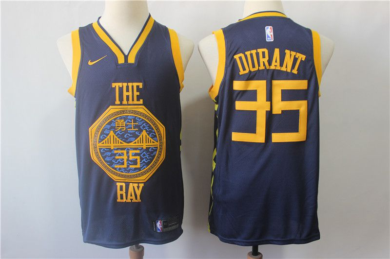 Men Golden State Warriors 35 Durant Blue City Edition Nike Game NBA Jerseys