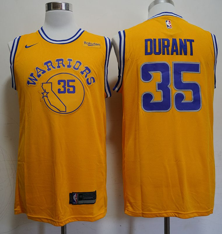 Men Golden State Warriors 35 Durant Yellow Nike Game NBA Jerseys