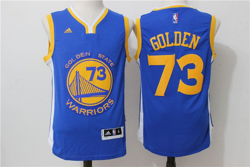 Men Golden State Warriors 73 Golden Blue Adidas NBA Jerseys