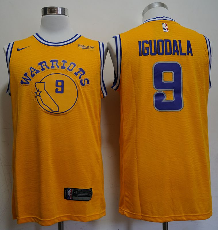 Men Golden State Warriors 9 Iguodala Yellow Nike Game NBA Jerseys