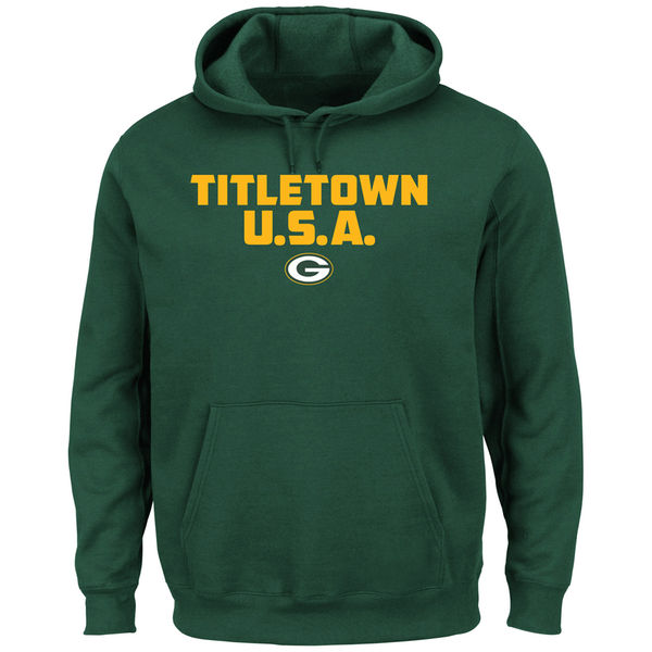 Men Green Bay Packers Majestic Hot Phrase Pullover Hoodie Green