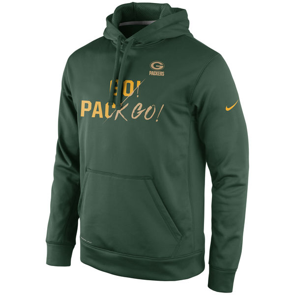 Men Green Bay Packers Nike Gold Collection KO Pullover Performance Hoodie Green