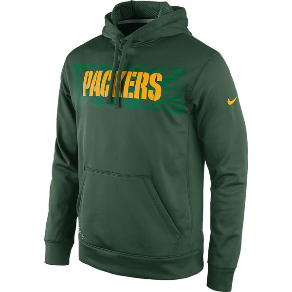 Men Green Bay Packers Nike KO Speed Wordmark Performance Hoodie Green