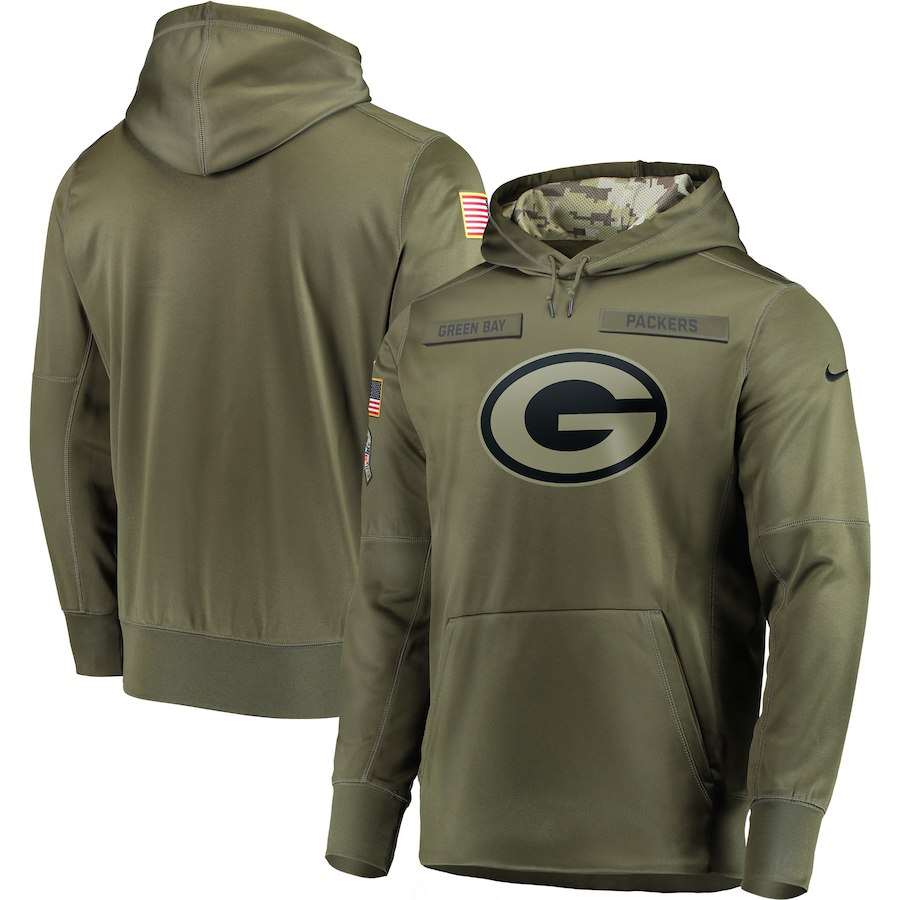 Men Green Bay Packers Nike Olive Salute To Service KO Performance Hoodie Green