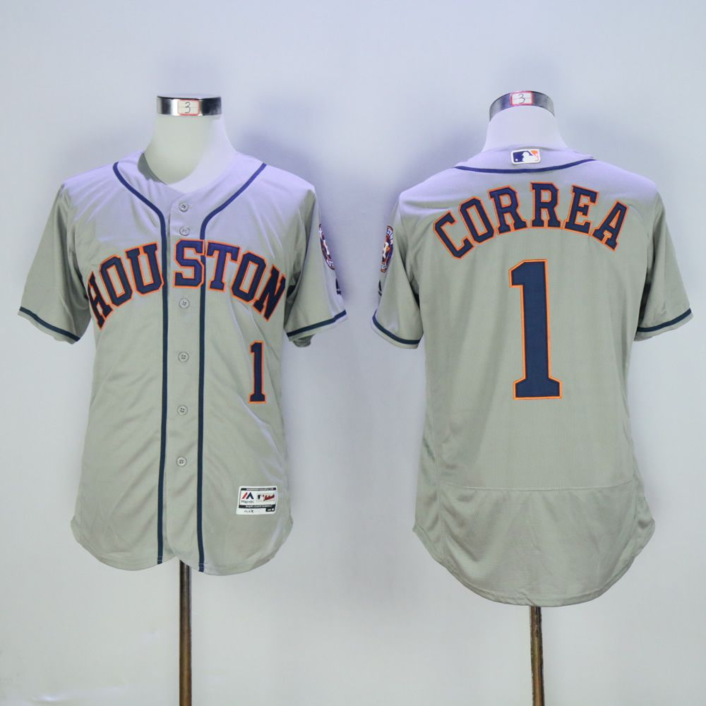 Men Houston Astros 1 Correa Grey MLB Jerseys