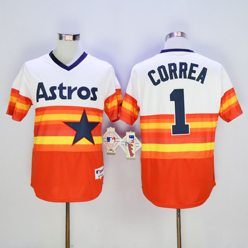Men Houston Astros 1 Correa Oragne 1980 MLB Jerseys