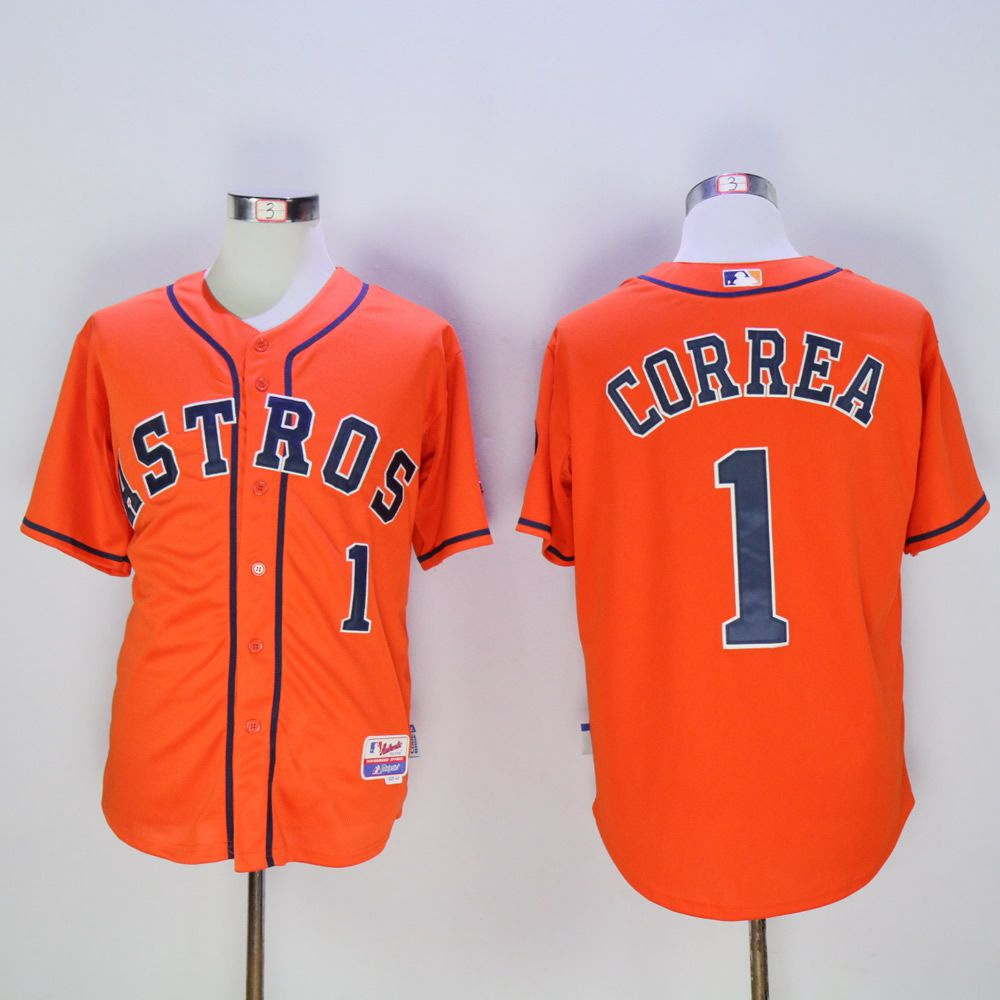 Men Houston Astros 1 Correa Orange MLB Jerseys