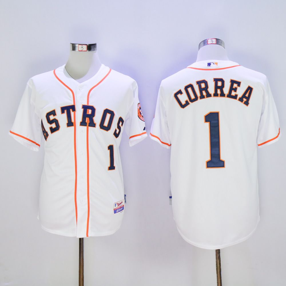 Men Houston Astros 1 Correa White MLB Jerseys