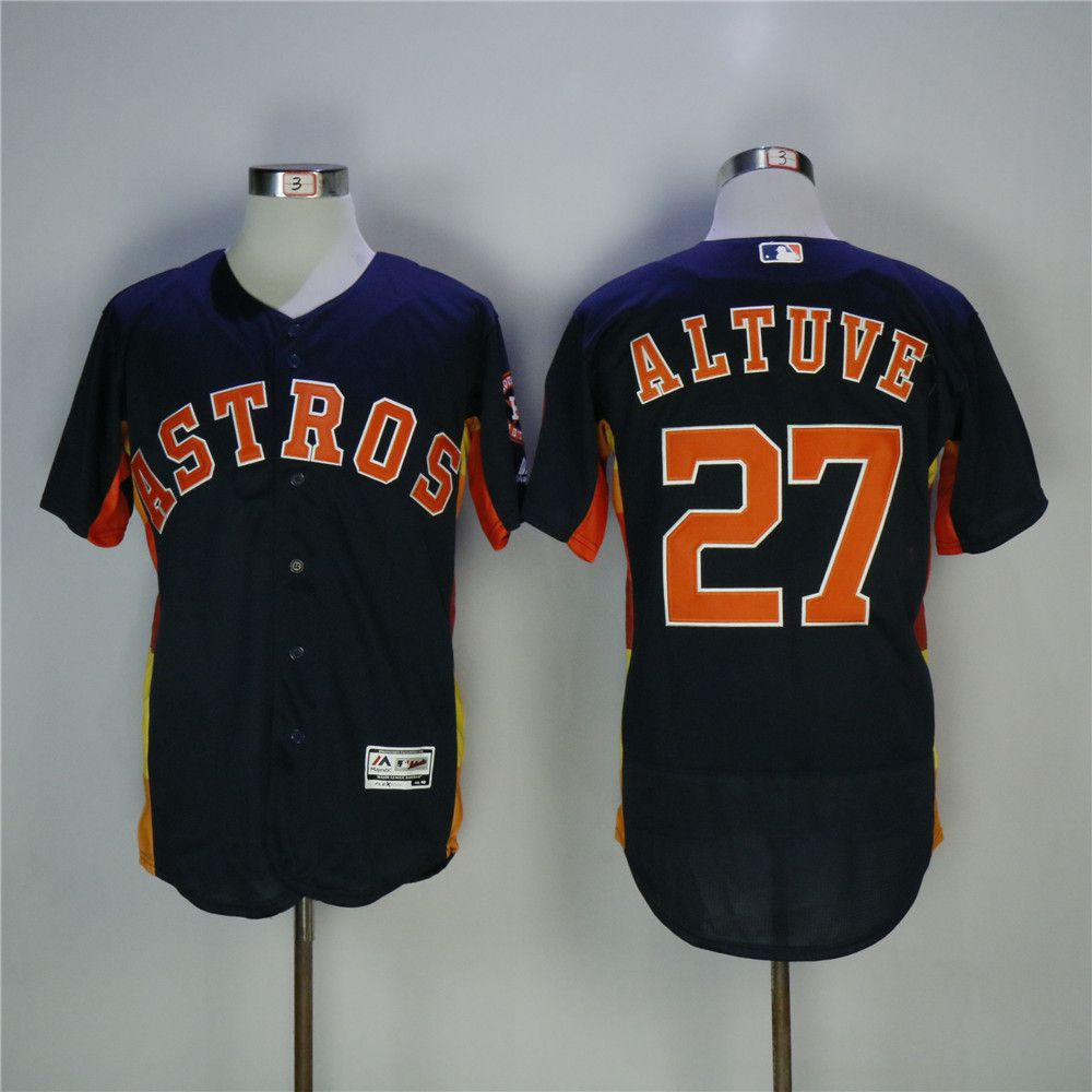 Men Houston Astros 27 Altuve Blue MLB Jerseys