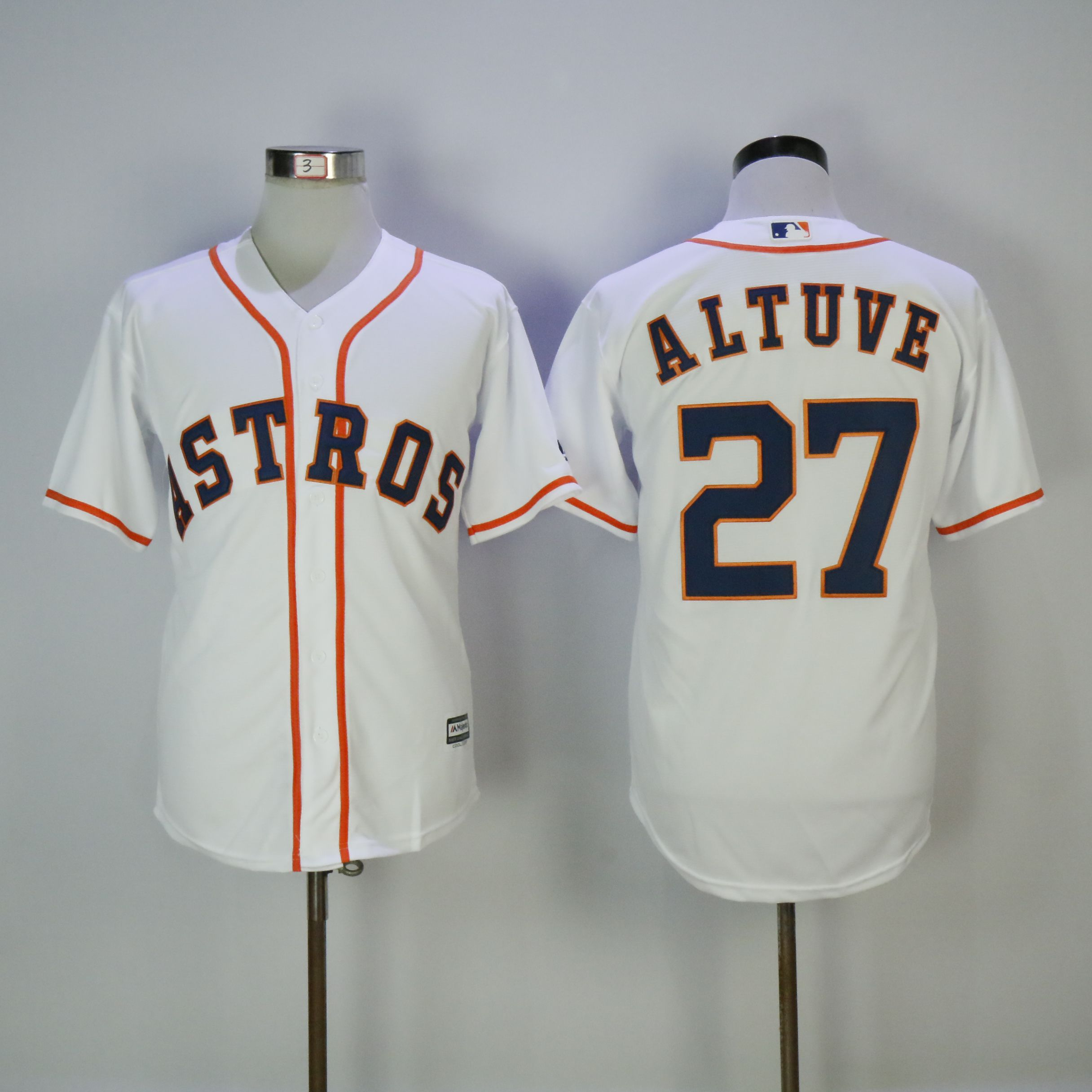 Men Houston Astros 27 Altuve White MLB Jerseys