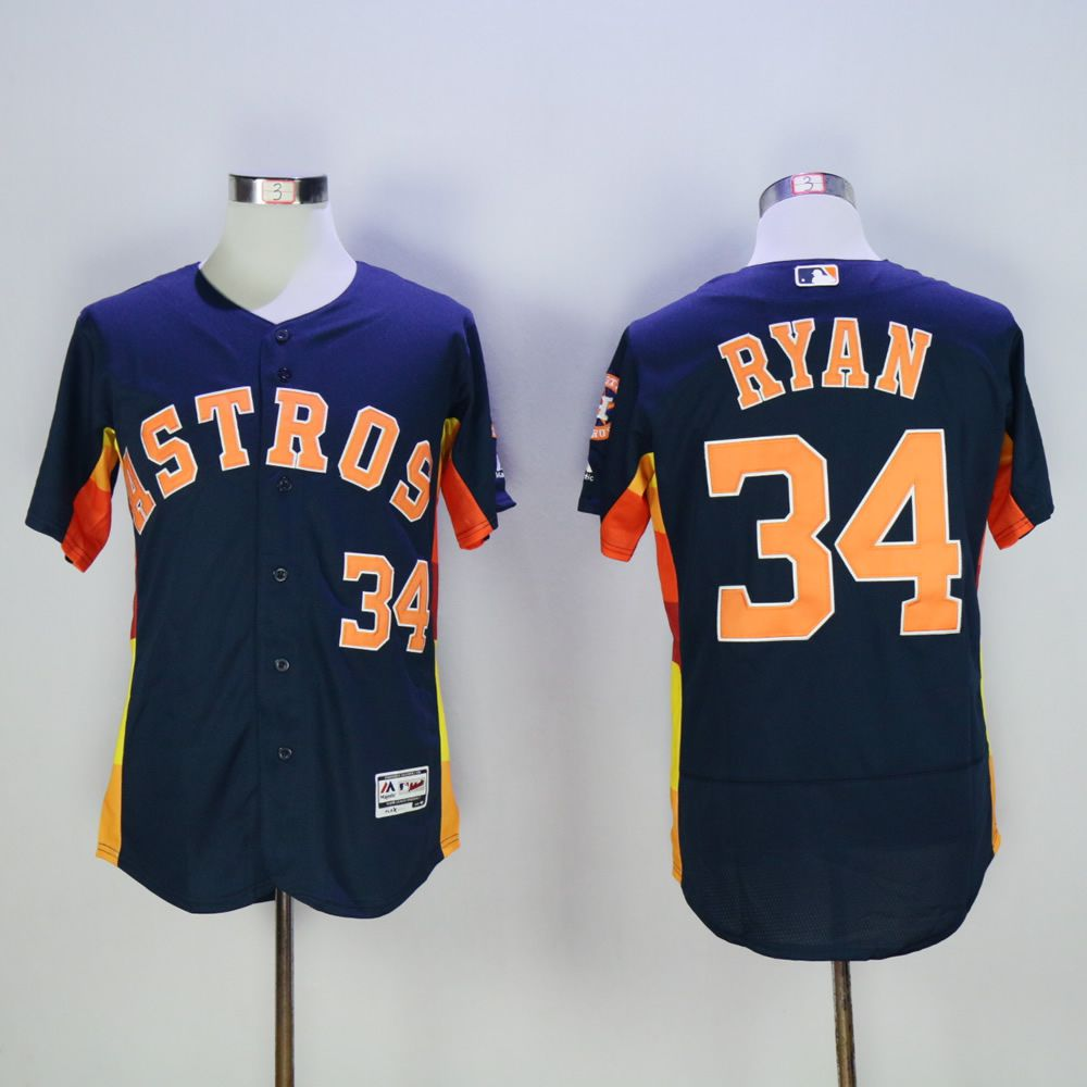 Men Houston Astros 34 Ryan Blue Throwback MLB Jerseys
