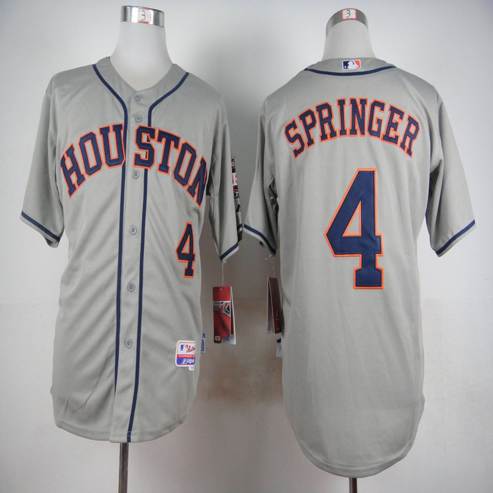 Men Houston Astros 4 Springer Grey MLB Jerseys