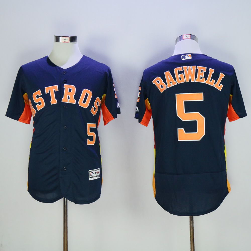 Men Houston Astros 5 Bagwell Blue MLB Jerseys