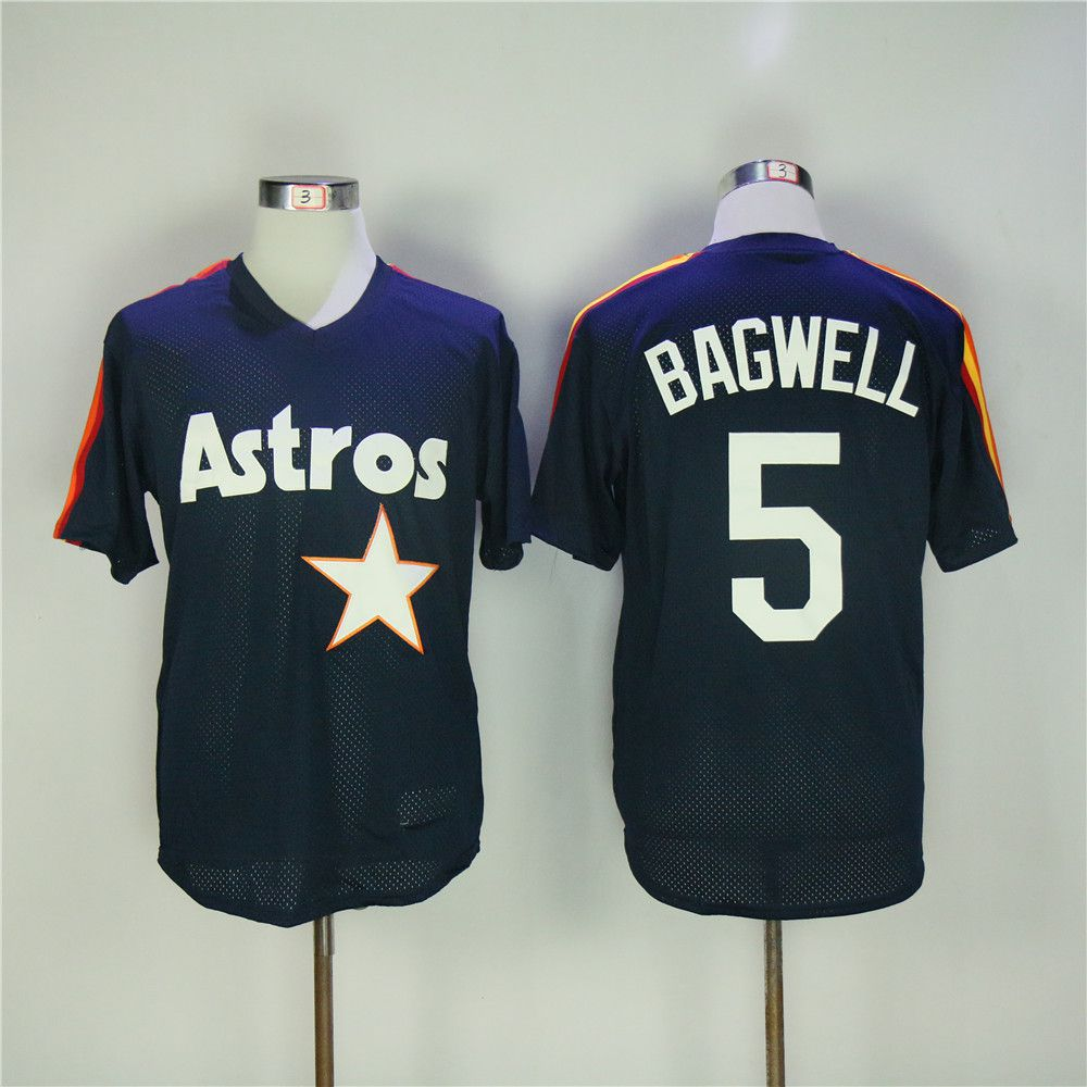Men Houston Astros 5 Bagwell Blue Throwback MLB Jerseys