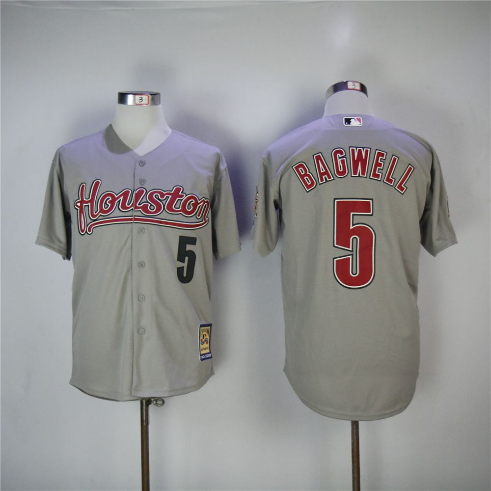 Men Houston Astros 5 Bagwell Grey Throwback 2006 MLB Jerseys