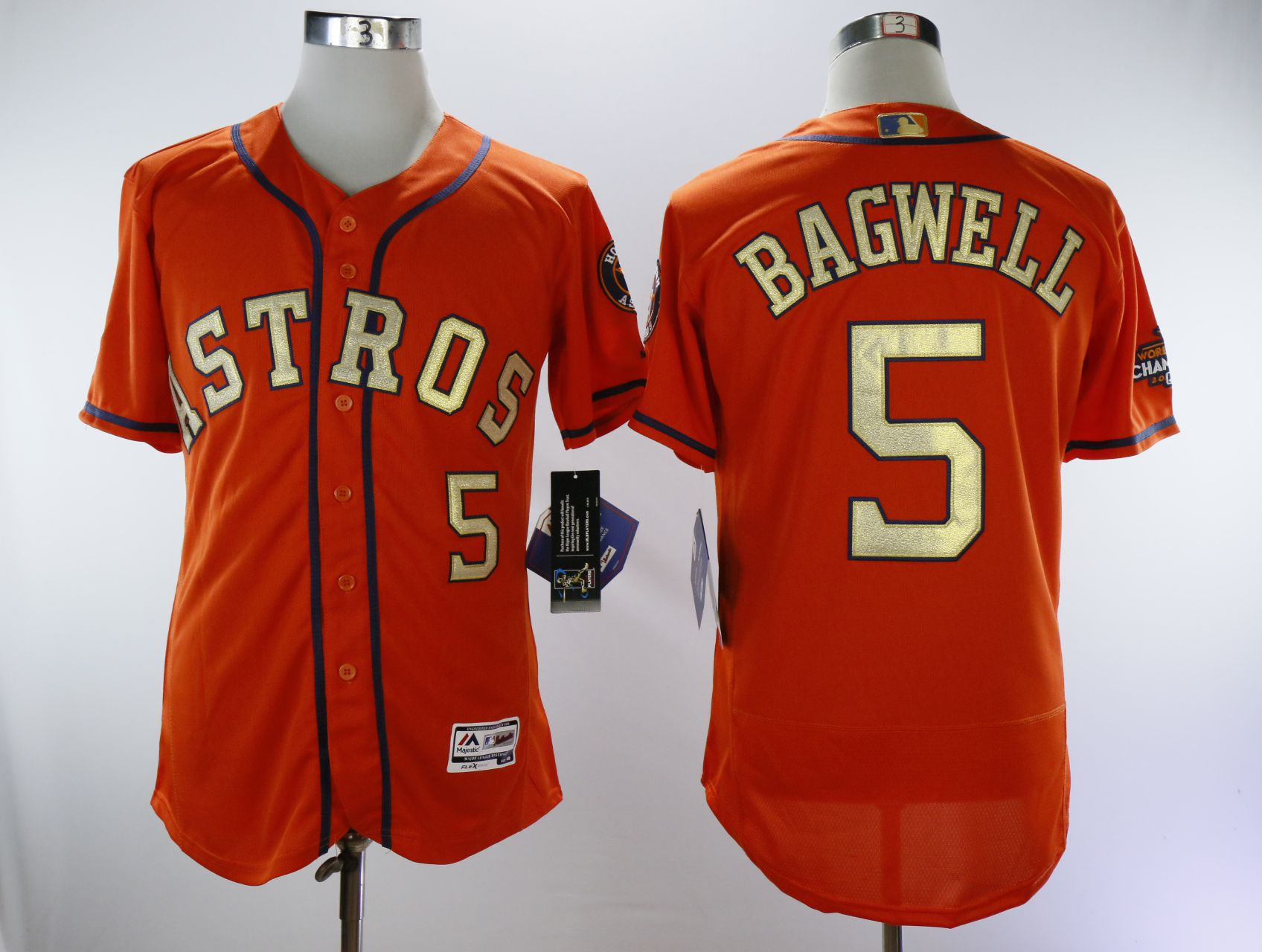 Men Houston Astros 5 Bagwell Oragne Champion MLB Jerseys