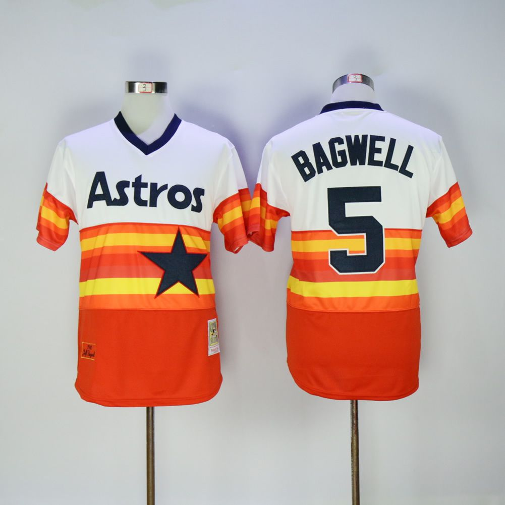 Men Houston Astros 5 Bagwell Orange Throwback 1980 MLB Jerseys