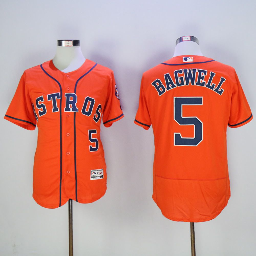 Men Houston Astros 5 Bagwell Orange Throwback MLB Jerseys