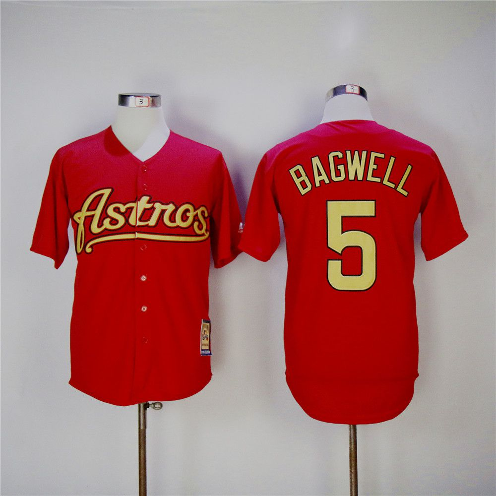 Men Houston Astros 5 Bagwell Red Throwback MLB Jerseys
