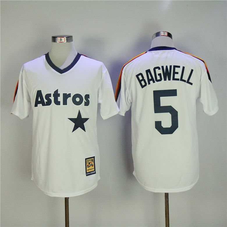 Men Houston Astros 5 Bagwell White Throwback MLB Jerseys