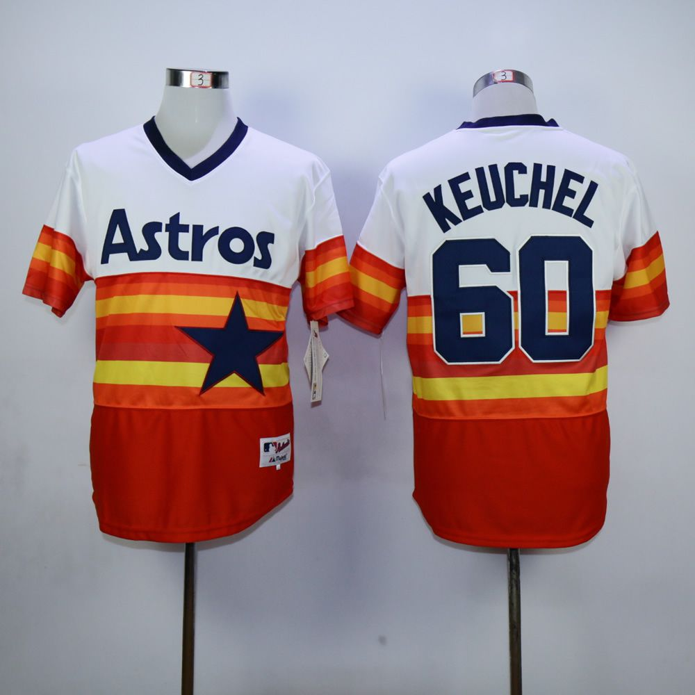 Men Houston Astros 60 Keuchel Oragne Throwback MLB Jerseys