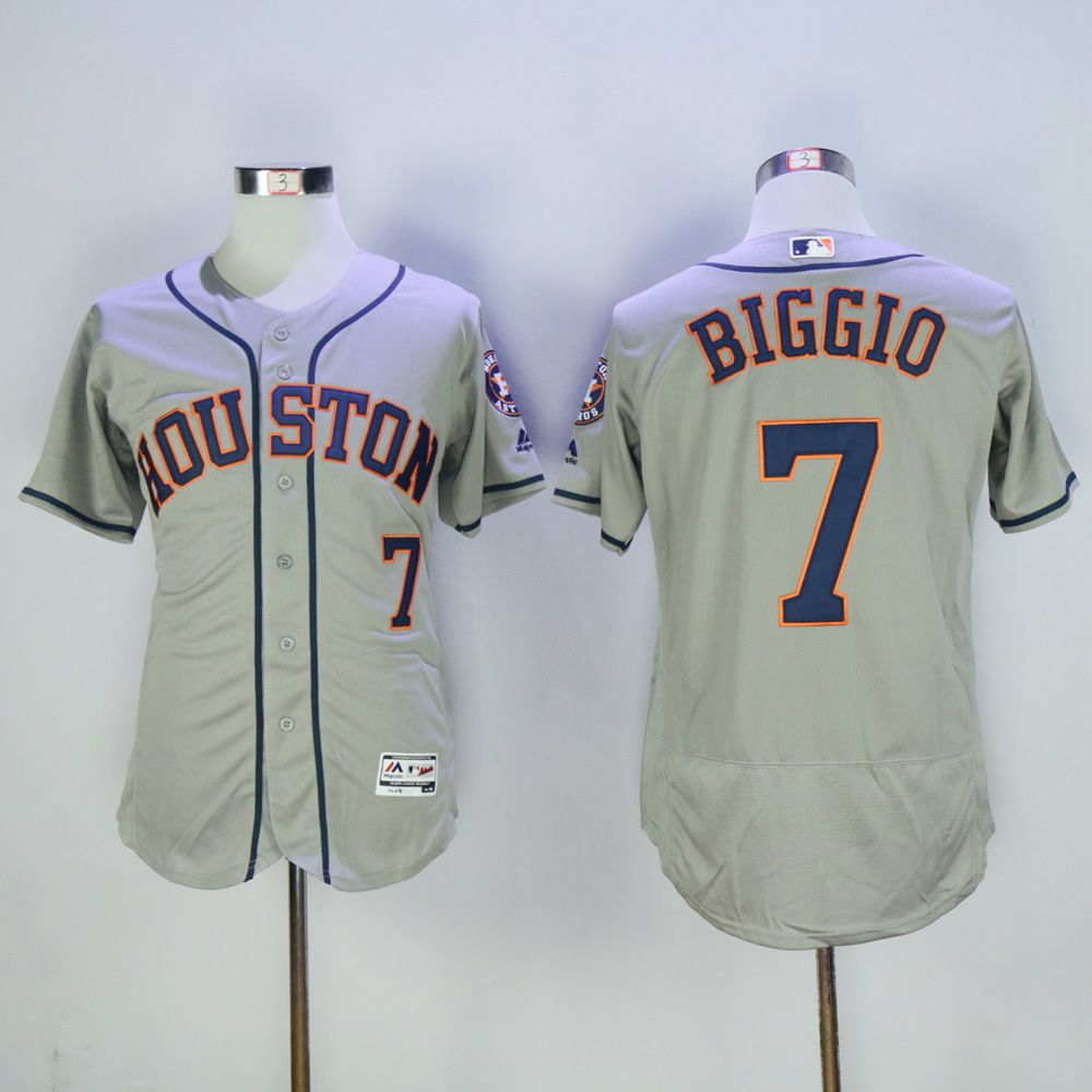 Men Houston Astros 7 Biggio Grey MLB Jerseys