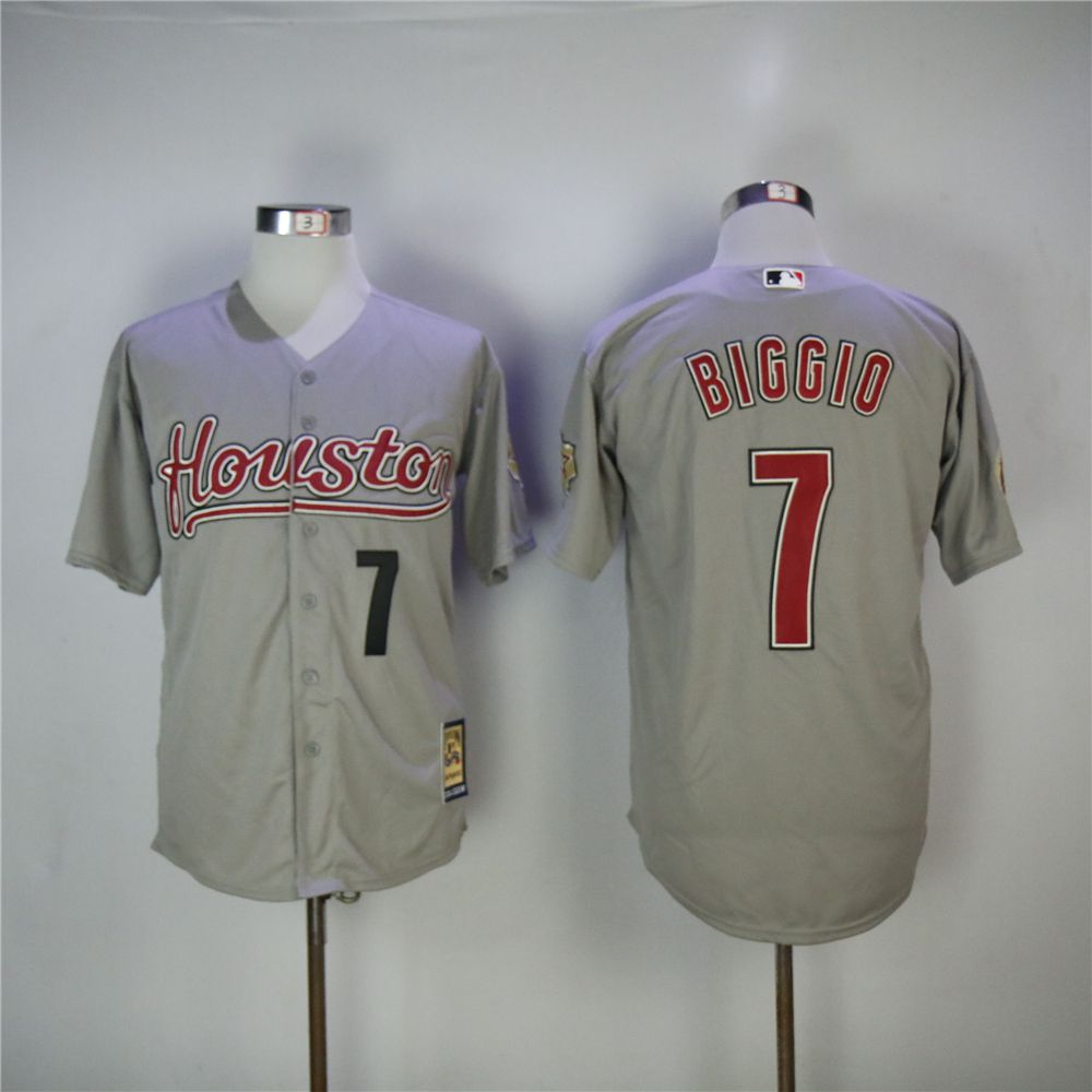 Men Houston Astros 7 Biggio Grey Throwback 2006 MLB Jerseys
