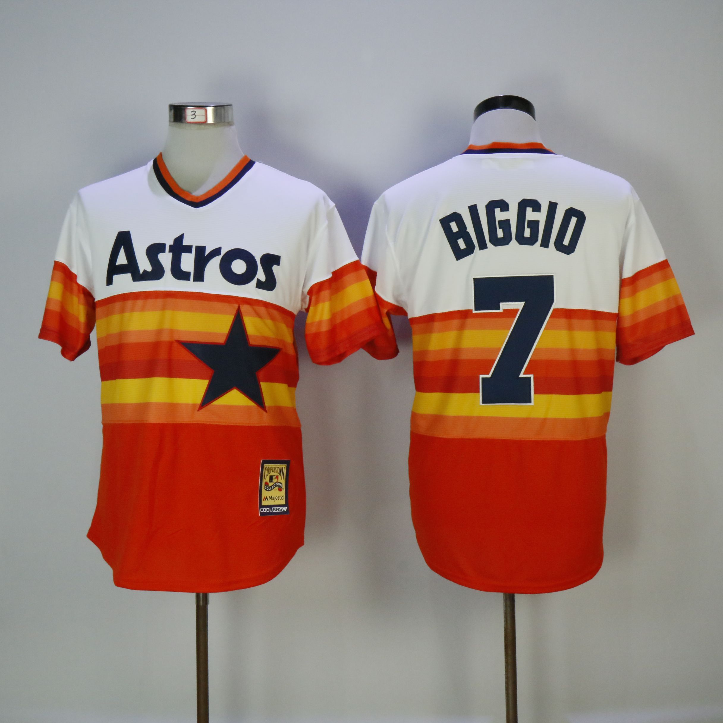 Men Houston Astros 7 Biggio Orange Throwback MLB Jerseys
