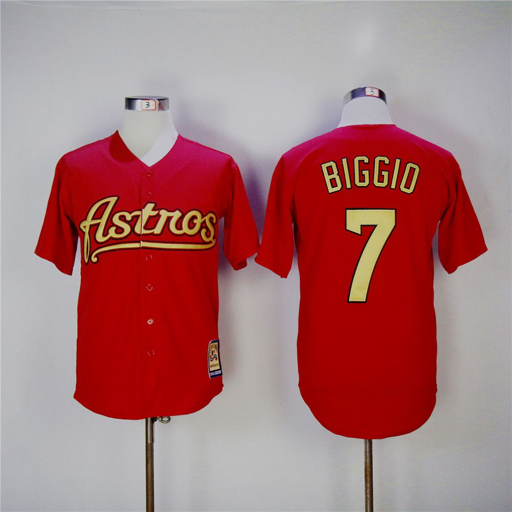 Men Houston Astros 7 Biggio Red Throwback MLB Jerseys