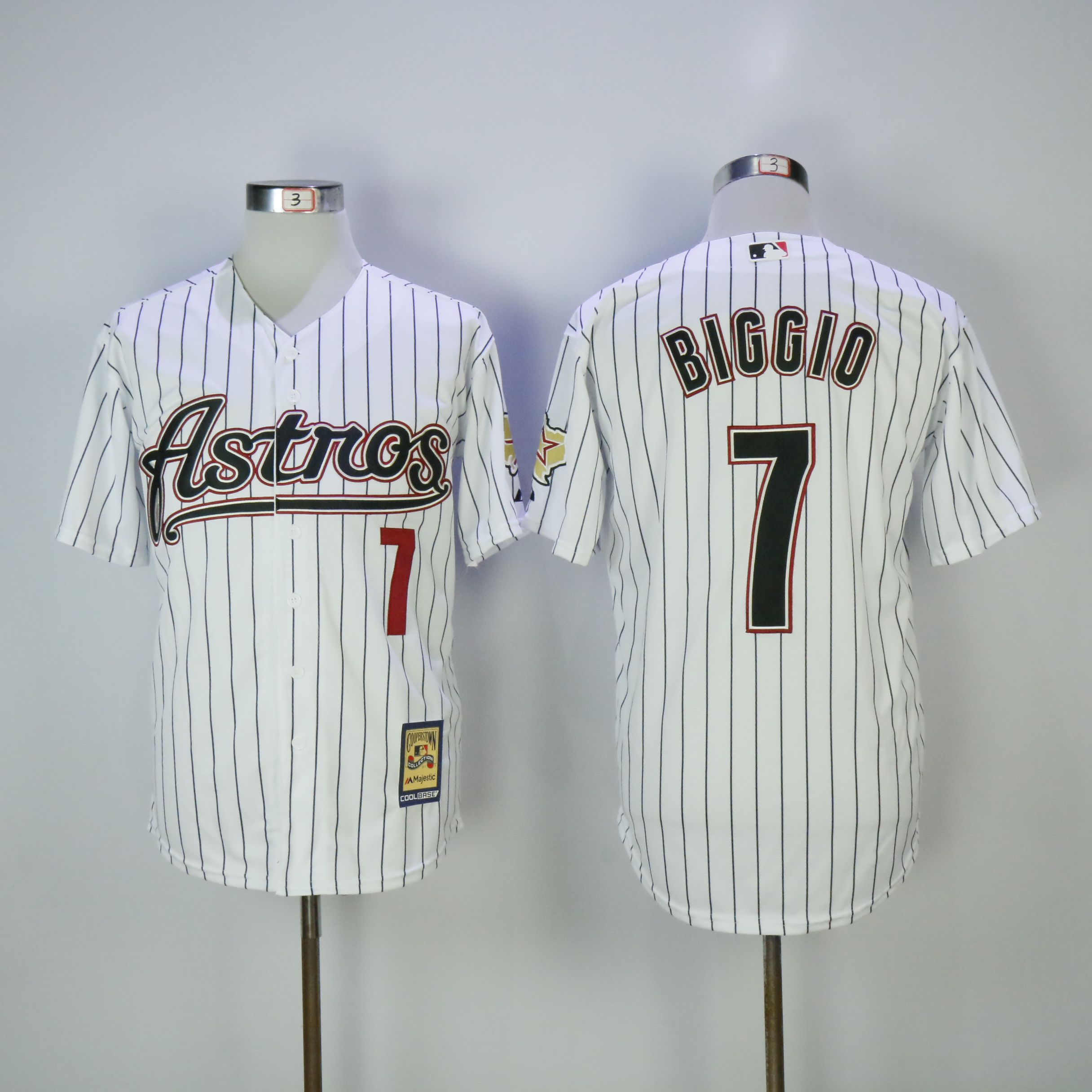 Men Houston Astros 7 Biggio White Throwback MLB Jerseys
