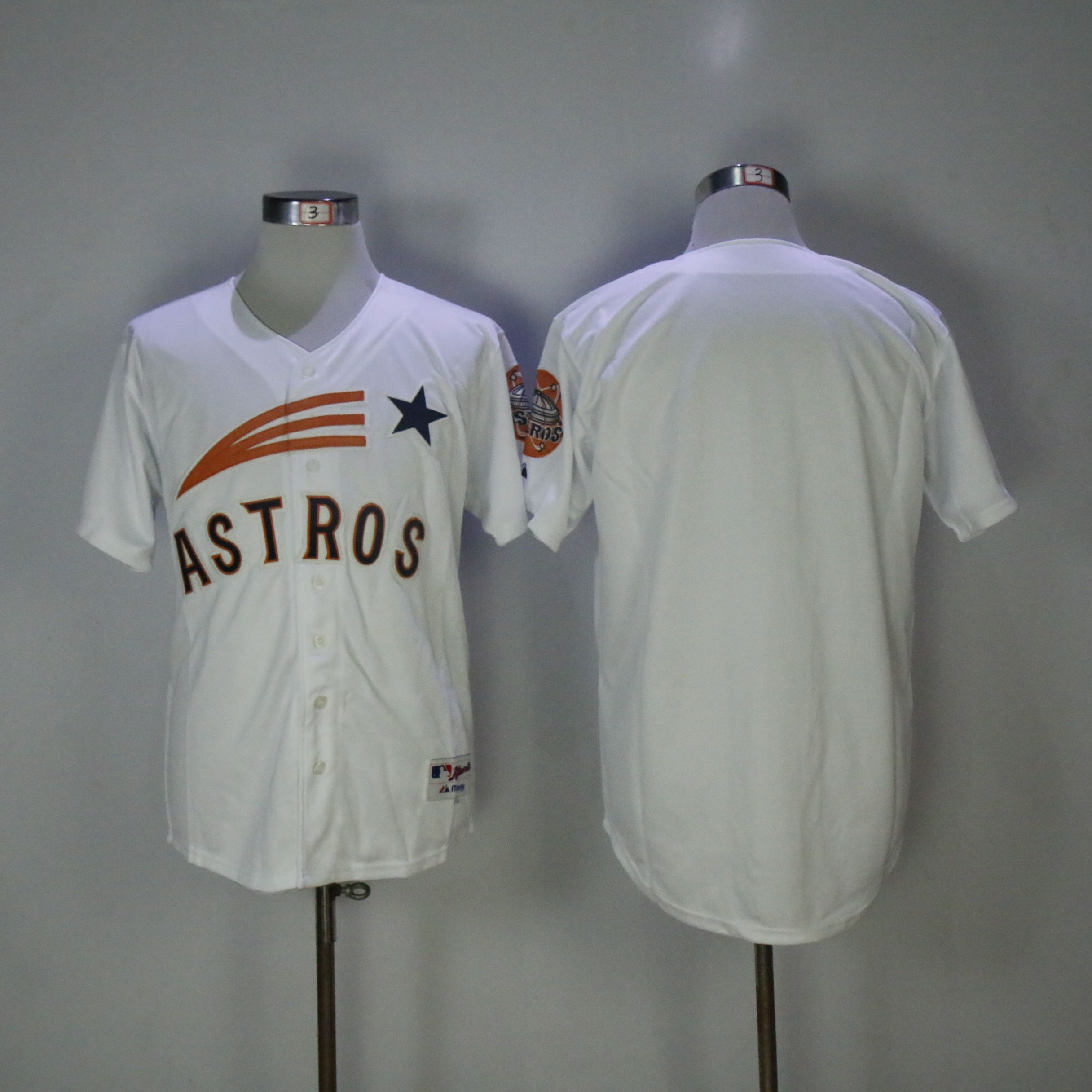 Men Houston Astros Blank White MLB Jerseys