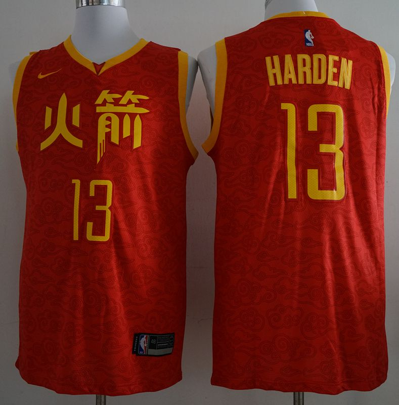 Men Houston Rockets 13 Harden Red City Edition Game Nike NBA Jerseys