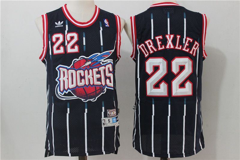 Men Houston Rockets 22 Drexler Navy Blue Throwback NBA Jersey
