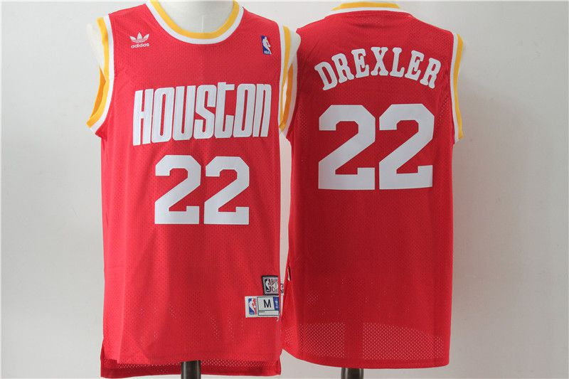 Men Houston Rockets 22 Drexler Red Throwback NBA Jersey