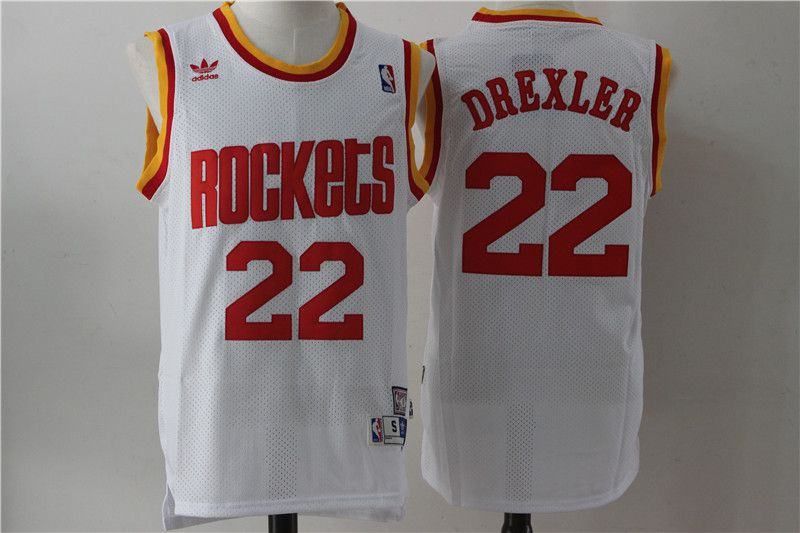 Men Houston Rockets 22 Drexler White Throwback NBA Jersey