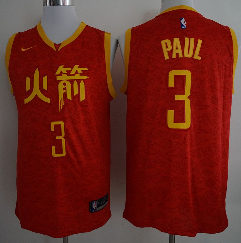 Men Houston Rockets 3 Paul Red City Edition Game Nike NBA Jerseys