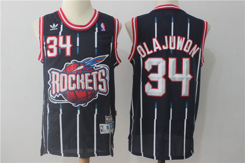 Men Houston Rockets 34 Olajuwon Navy Blue Throwback NBA Jersey