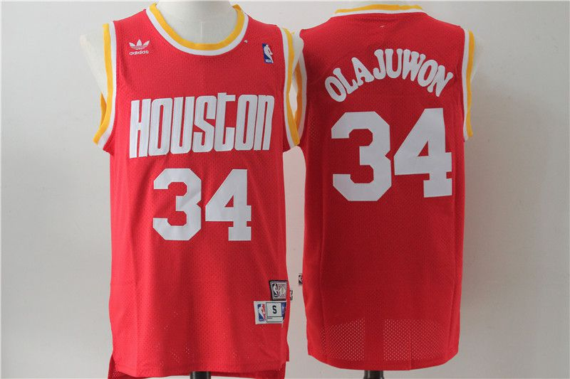 Men Houston Rockets 34 Olajuwon Red Throwback NBA Jersey