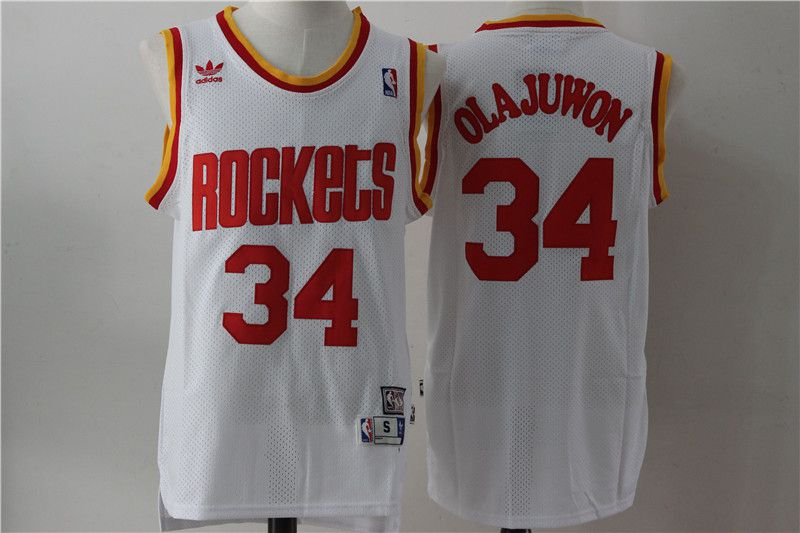 Men Houston Rockets 34 Olajuwon White Throwback NBA Jersey