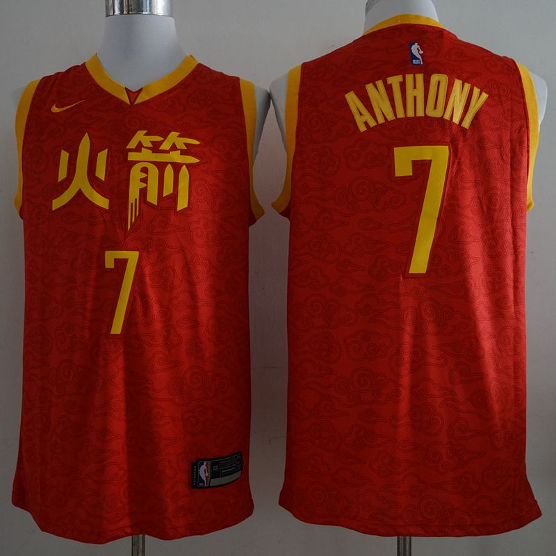 Men Houston Rockets 7 Anthony Red City Edition Game Nike NBA Jerseys