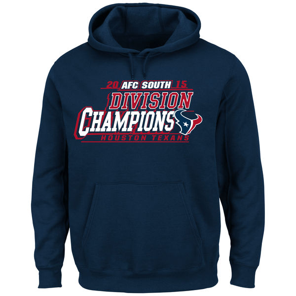 Men Houston Texans Majestic 2015 AFC South Division Champions Pullover Hoodie Navy