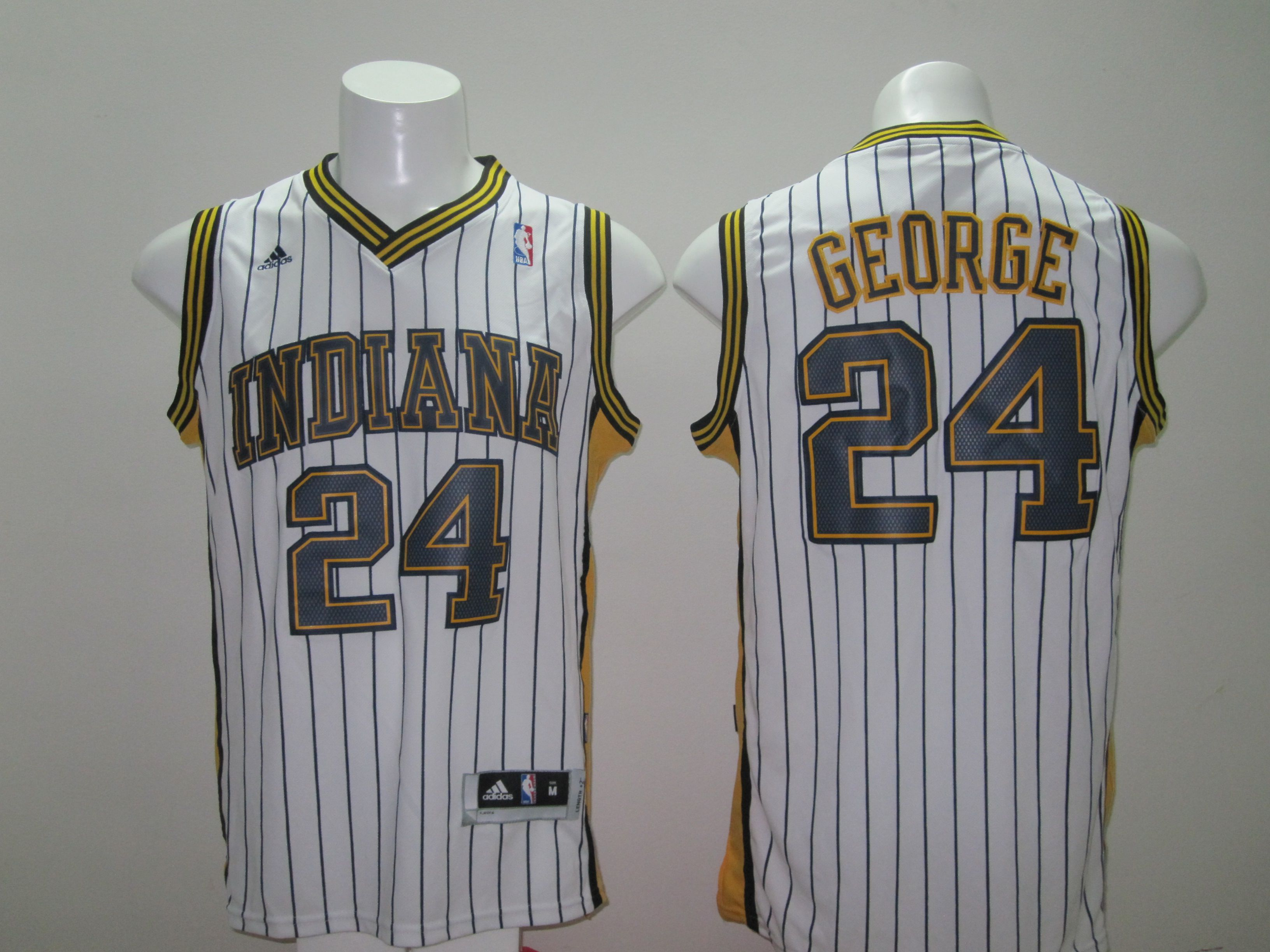 Men Indiana Pacers 24 George White Stripe Throwback Adidas NBA Jersey