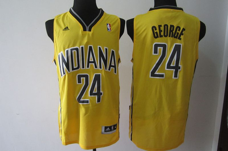 Men Indiana Pacers 24 George Yellow Adidas NBA Jersey