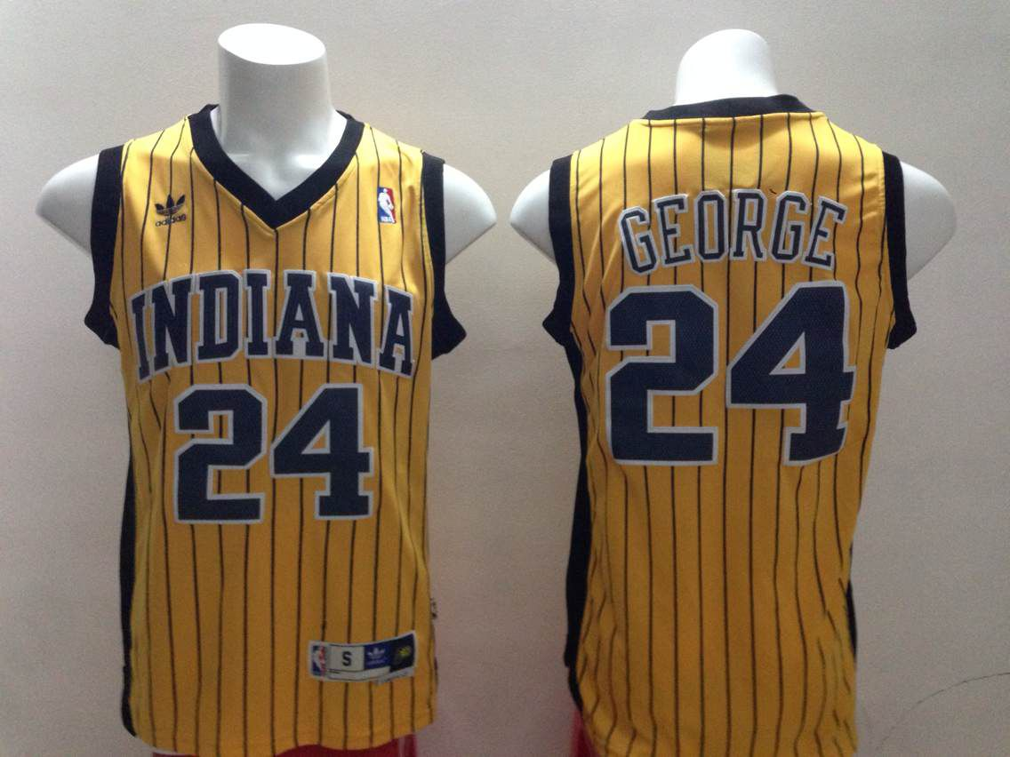 Men Indiana Pacers 24 George Yellow Stripe Throwback Adidas NBA Jersey
